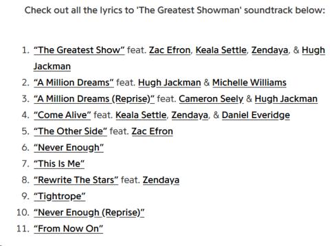 TheGreatestShowmanLyrics